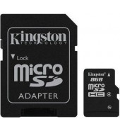 Карта памяти Kingston microSDHC 8 Gb Class 4 + SD adapter (SDC4/8GB)